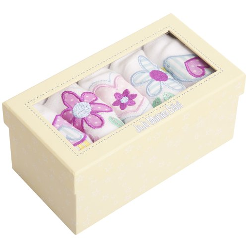 JoJo Maman Bebe Embroidered Muslin Squares, Floral, 5 Count - 1
