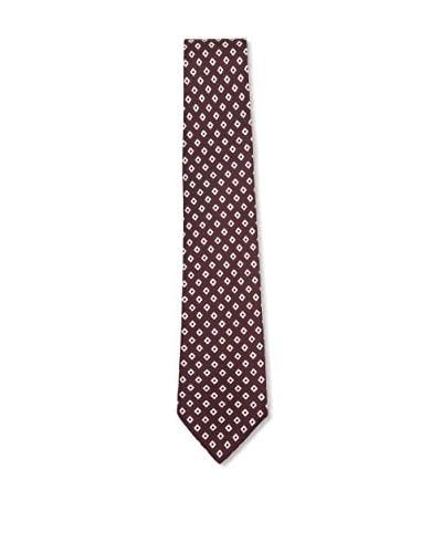 Kiton Men's Diamond Tie, Dark Red/White