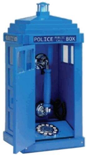 Steepletone Teléfono fijo en forma de cabina policia police color azul