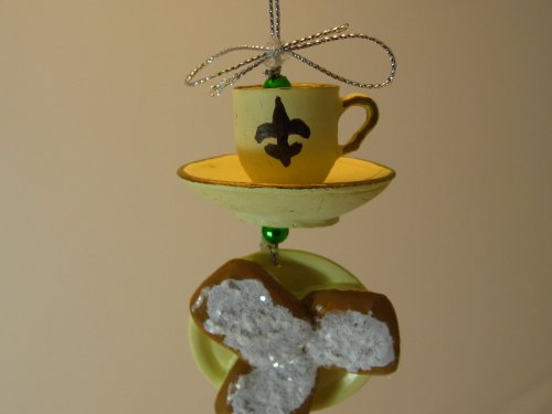 New Orleans Coffee and Beignets Christmas Ornament w Pouch O