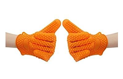 Suntake BBQ Gloves, Silicone Heat Resistant Gloves ( 1 Pair, Orange)