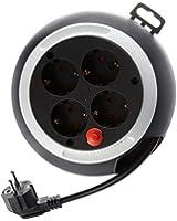 Lindy 73180 4-outlet Cable box rallonge électrique à enrouleur avec 4 prises Noir