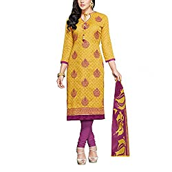Applecreation Women's Yellow | Synthetic unstitched dress materials for women party wear bollywood dress material for Casual | Ceremony | Evening Occasions