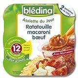 Blédina assiette du jour ratatouille macaroni boeuf 2 x 230g dès 12 mois