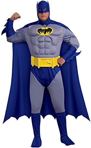 Batman: The Bold And The Brave Muscle Chest Batman Adult Plus Size, Blue, Plus Costume
