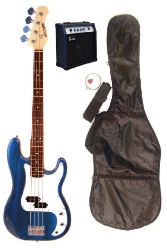 Full Size 43″ Precision P Transparent Blue Electric Bass Guitar with 10 Watt Amplifier Pack & DirectlyCheap(TM) Translucent Blue Medium Guitar Pick