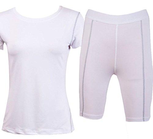 Liveinu Women's Powertrain T-Shirt and Short White L