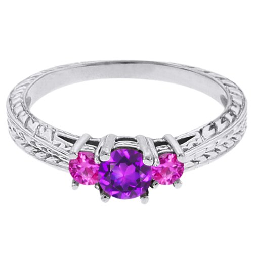 0.62 Ct Round Purple Amethyst Pink Sapphire 18K White Gold 3-Stone Ring