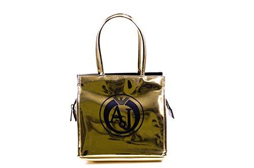 ARMANI JEANS donna borsa shopping 922162 6A735 00961 ORO/NERO UNICA ORO-NERO