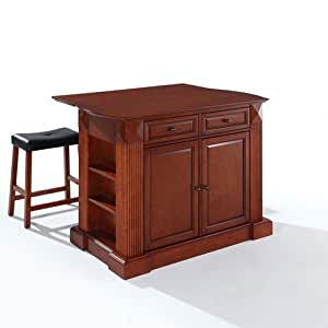 Crosley Furniture Drop Leaf Breakfast Bar Top Kitchen Island In Cherry Finish With 24 Inch