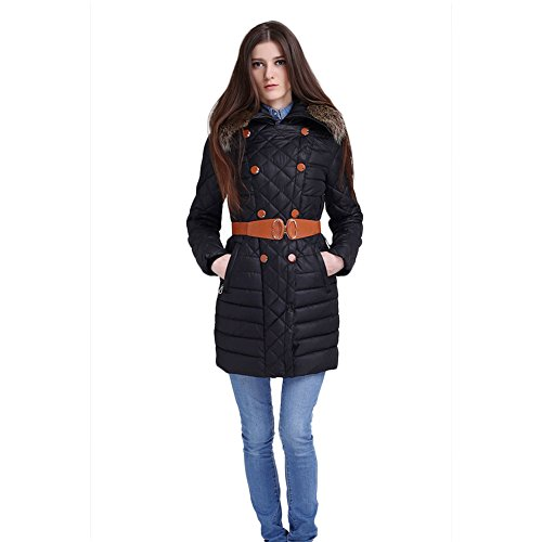 Women Parka Ultralight Hood Fitted Belted Cool-Proof Goose Down Parka Coat