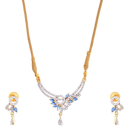 Bharat Sales Gold Plated Blue Alloy Necklace Set For Women - B00YPASD64