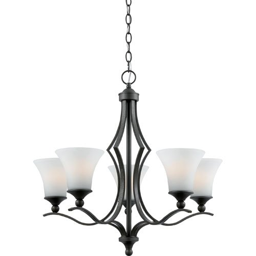 Quoizel SR5005IN Sarah 5-Light Chandelier with Opal Etched Glass Shades, Iron Gate
