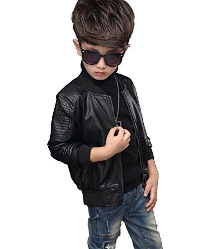 YoungSoul Giacche Autunnali Invernali Bambino Cappotti Ecopelle Manica lunga Ragazzo Giubbotto Finta Pelle Moto per bambini Nero(con fodera) 7-8T/Statura 130cm