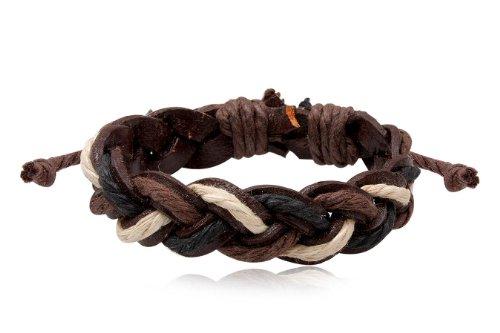 Fashion Black White & Brown Leather Wrap Cuff Rasta Plait Bracelet Men's Jewelry