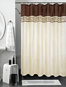 Cream Shower Curtain With Chocolate Brown Vine Embroidery And Br