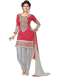 Shree Mira Impex Women's Cotton Beautiful Semi-Stiched Parellel Dress Material Salwar Suit (SMIX-674_Light -Red_Free...