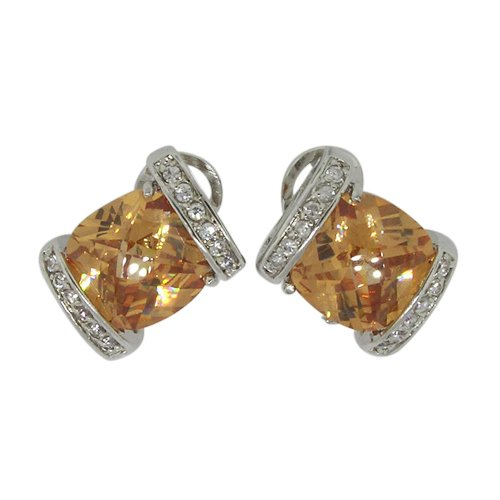 Stud Earrings w/Champagne & White CZs