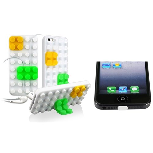 eForCity White/ Yellow/ Green Toy Bricks Silicone Skin Case with FREE White Docking Port Cap Compatible with Apple® iPhone® 5