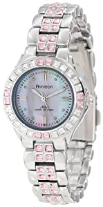 Armitron Women's 75/3689PMSV Pink Colored Swarovski Crystal Accented Silver-Tone Watch