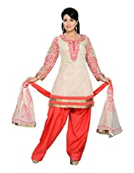 Ritu Creation Women's New Silk Stitched Salwar Suit With Neck&Sleeve Embroided Work(Beige)