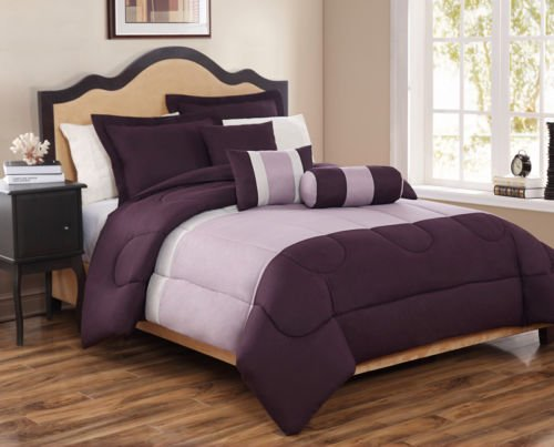 10 Piece King Tranquil Plum And Lavender Bed In A Bag W/500Tc Cotton Sheet Set front-954815