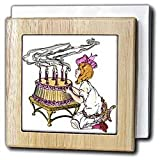 Sandy Mertens Vintage Celebrations Vintage Birthday Girl with Cake Tile Napkin Holders