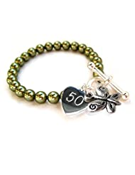 BUTTERFLY 50TH Birthday Bracelet-GREEN-9