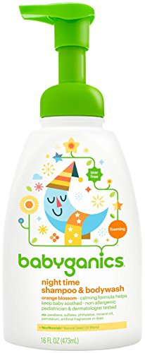 BabyGanics Foamin' Fun Night Time  Shampoo & Bodywash, Natural Orange Blossom-16oz
