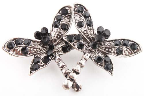 Ladies Jet Black Iced Out Butterfly Brooch & Pin Pendant