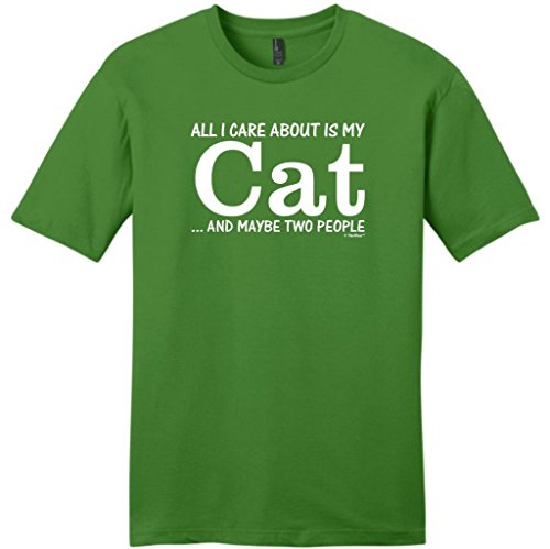 All I Care About Is My Cat And Maybe Two People Young Mens T-Shirt 3Xl Kiwi Green