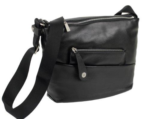 Billiger MANDARINA DUCK Boboli 6GT07001 Leder Schultertasche Damen Tasche Ledertasche Bag black cm. 29,5x26,5x5 (B:H:T)