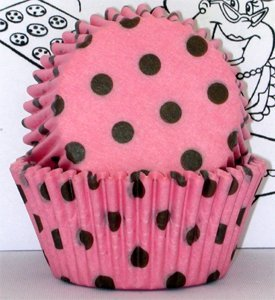 Golda's Kitchen Baking Cups - Polka Dot - Pink & Brown