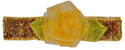 Bow Allure Tarpon Srings No Slip Flower Hair Clip, Organza, Gold and Yellow