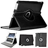 BLACK ROTATING 360 PU LEATHER CASE COVER FOR APPLE IPAD 2, 3 AND IPAD 4 4TH GENERATION WITH SCREEN PROTECTOR & STYLUS BY ACCESSORIES MART LTD