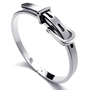 KONOV Jewelry Womens Stainless Steel Bangle Bracelet - Silver (with Gift Bag)