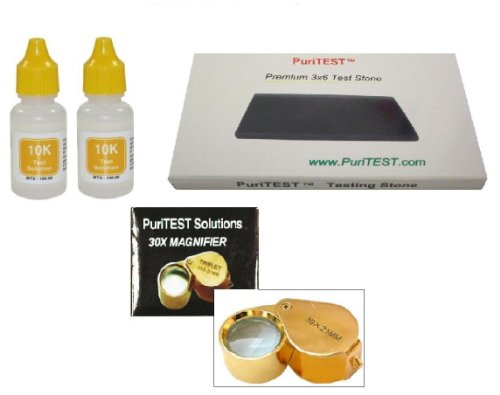 Cash For Gold Purity Testing Kit By Puritest + Free Gift! 10-Karat Solution Test Scrap Jewelry, Plated Coins, Solid Antiques