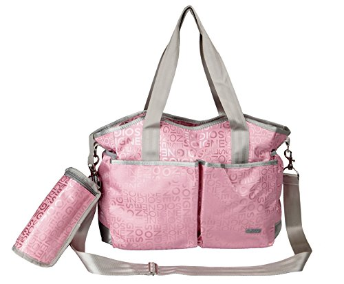 Yodo Versatile Sturdy Baby Diaper Bag for Moms, with Removable Shoulder Strap and Insulated Bottle Holder, Pink - 1