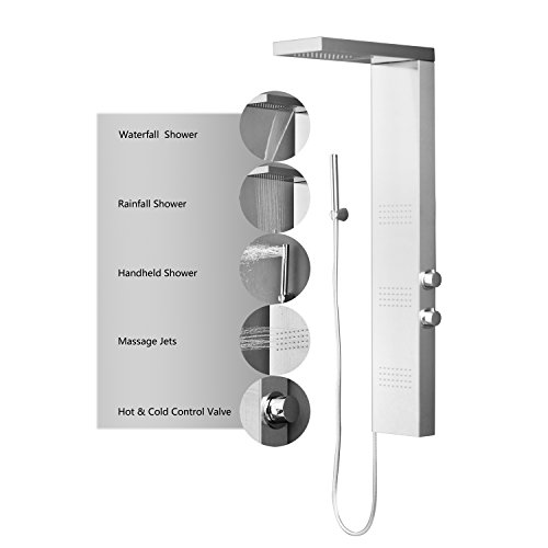 Decor-Star-005-SS-47-Stainless-Steel-Fingerprint-Resistance-Rainfall-Shower-Panel-Rain-Massage-System-Faucet-with-Jets-Hand-Shower