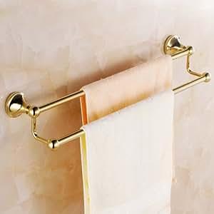 Ouku Wall Mount Lavatory Towel Racks Bath Shower Accessories Gold Plated Brass