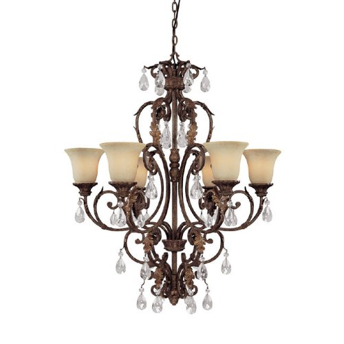 Capital Lighting 3646GU-254-CR 6 Light Seville Chandelier, Gilded