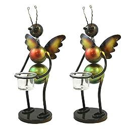 Decorative Metal Bee Indoor/Outdoor Patio Yard Candle Holders, 2-Pack