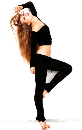 New York Black Medium Drawstring Tights & Boat Neck Top By Kd Dance New York Supple, Sexy, Cozy, Classic Knit, Fashionable Dance #Madeinusa
