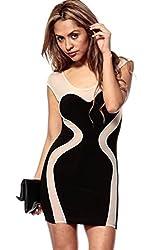Qurves-Black Curve Accent Splicing Bodycon Dress
