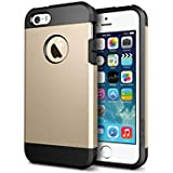 Fone-Stuff Apple iPhone 5S 5 Tough Case - 2 Layer Armor Shell Hardback Cover with Screen Protector (Gold)