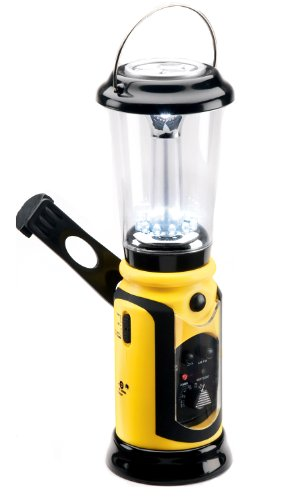 Kaito Ka751 8-In-1 Wind-Up Multi-Functional Camping Lantern With Am/Fm Radio & Cell Phone Charger, Color Yellow