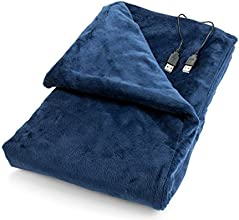 USB Heated Shawl and Lap Blanket - Blue Color - USB Heated Throw Perfect Alternative to an Office De