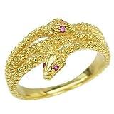 真珠の杜 スネーク リング ルビー 蛇 ヘビ 指輪 K18 ゴールド 金運アップ 開運 パワーストーン 12号
