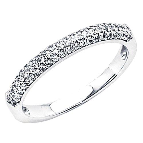 14K White Gold High Poliosh Finish Round-cut Top Quality Shines CZ Cubic Zirconia Ladies Wedding Band Ring - Size 8.5