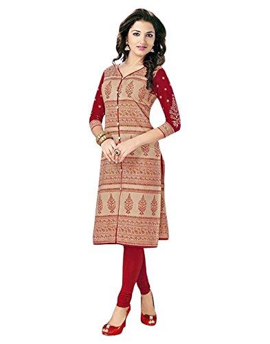Jevi Prints Beige & Red Colour Unstitched Cotton Kurti Fabric